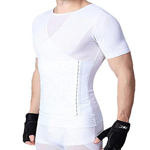 U-Pretty Herren Shapewear Schlank Bauch Hemd Body Shaper 042 (L, Weiß) (Body Gürtel Shaper)