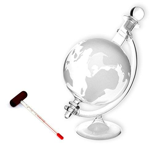 Lantelme 5078 Cognackaraffe mit Thermometer im Set - Glaskaraffe mit Weltkarte und Analogthermometer...