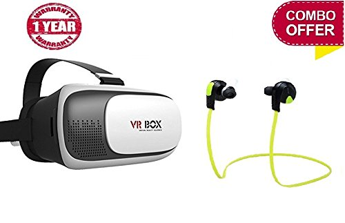 You Gadget SAMSUNG GALAXY NOTE 8 Compatible Certified Vr Box 2.0 Virtual Reality Glasses, with Controller For 3D Vr Glasses Virtual Reality Headset With QY8 Jogger Bluetooth 4.1 Wireless Headphones (One Year Warranty)