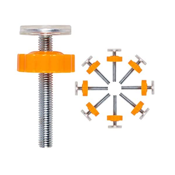 ZUZER 8pcs Pressure Baby Gates Threaded Spindle Rods M10 Walk Thru Gates Accessory Screw Bolts Safety Gate Screws for Baby and Pet Safety Gates Zuzer [High Quality] Our threaded spindle rods with steel core screw and ABS plastic, durable and reusable.Solid material that won't crack with pressure, help to make the banister gate fit snug and sturdy, so as to ensure safety of the kids or pets. [Safety and Stability] This pressure screw makes your baby door more stable and will not malfunction. A good way to protect walls or stair rails, the rubber ends protect your stairs from scratches. Can be used as an alternate wall handle for our door. (Do not use it at the top of the stairs.) [Easy to Install] It can be installed without tools. It does not damage the wall, it can be assembled quickly and easily by simply rotating the nut and creating a force that acts directly on the wall. 1