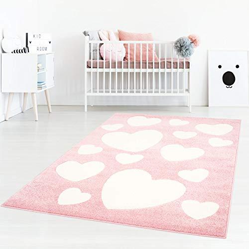 Taracarpet Kinderzimmerteppich für Mädchen süße Herzen Rosa Creme 120x170 cm -