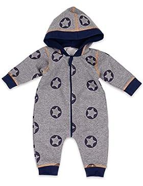 Baby Sweets Overall Jungen grau blau | Motiv: Sterne | Babystrampler mit Kapuze für Neugeborene & Kleinkinder...