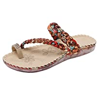 BigTree Womens Toe Ring Slippers Summer Beach Weave Bling Rhinestones Flats Sandals Transparent Soft Sole Beige 7 UK