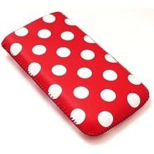 Emartbuy Tupfen Rot / Weiß PU-Leder-Tasche / Case / Sleeve / Halter (klein) mit Pull Tab Mechanismus für Sony Ericsson Zylo
