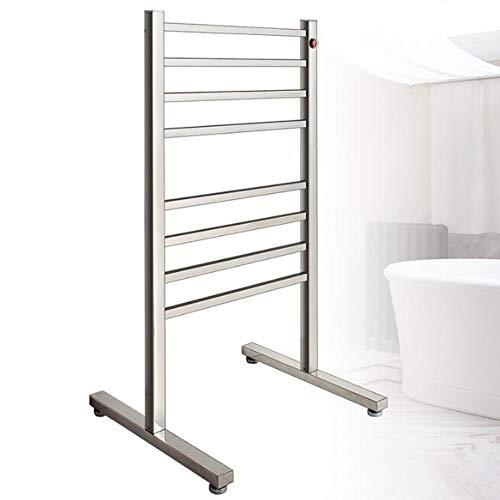 HUIJIN1 304 Edelstahl-Handtuchwärmer, tragbarer elektrischer Handtuchwärmer, Luxus-Stecker-elektrisch beheiztes Handtuchständer mit Metallstahlrahmen 8 bar, EIN Knopfschalter -