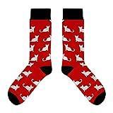 CUP OF SOX - Katzen/Cats / Miezekatze/Katzenmuster - Socken in der Tasse - Herren und Damen Geschenksocken Freizeit Socken (41-44, Rot)