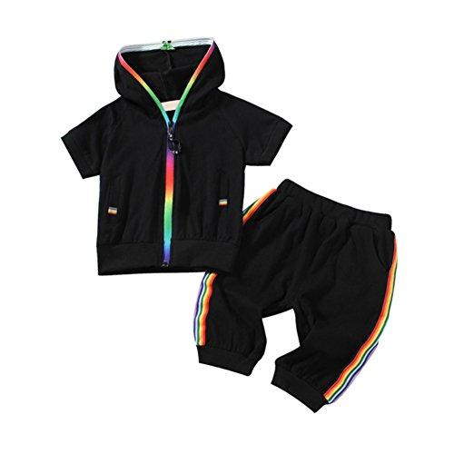 Blaward Baby Jungen Mädchen Casual Anzug Sommer Kleidung Sets Sportbekleidung Mit Kapuze Sport Outfits mit Tasche 2 STÜCKE 1-5Jahre (Hosen-anzug Outfit Set)