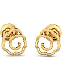 P.N.Gadgil Jewellers Lavanya Collection 22k (916) Yellow Gold Stud Flower Patterned Earrings