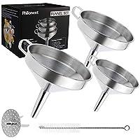 Philonext Set de embudos de cocina, Juego de filtros de embudo de acero inoxidable 3 piezas con mango y colador desmontable para filtrar líquidos, ingredientes secos, polvo