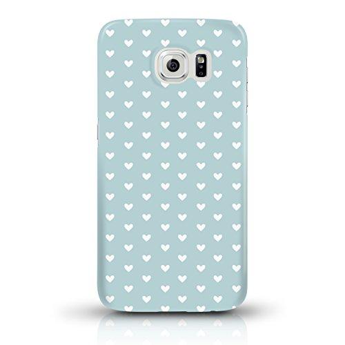 """JUNIWORDS Handyhüllen Slim Case für Samsung Galaxy S6 - Motiv """"Bunter Elefant schwarz"""" Schutzhülle für Ihr Smartphone Weiße Herzchen, mint"""