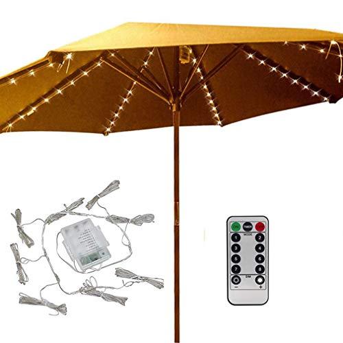 YELOS Sonnenschirm, mit Fernbedienung und Timer, 8 Modi, 104 LED-Lichter mit batteriebetrieben, für Regenschirme, Campingzelte oder Outdoor-Dekoration, Warmweiß