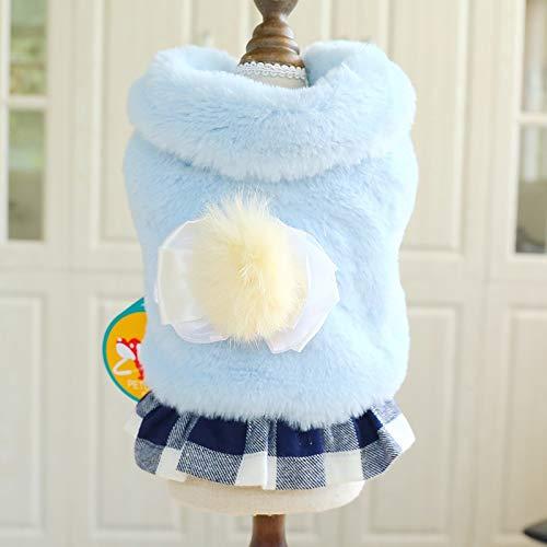 ACDGS Haustier Hund Katze Herbst und Winter Neue warme Damen Stil Falten kleine Dame Rock Teddy Bear (Color : Plaid Skirt Blue Lady Dress, Size : M) -
