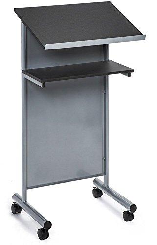 Rädern Rednerpult mit Ablage - silber/schwarz - Compact stehend Schreibtisch für Lesung -...