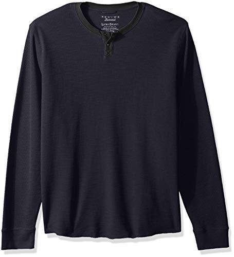 Burnout-thermal Shirt (Lucky Brand Herren Casual Long Sleeve Burnout Thermal Notch Neck Tee Hemd, Night Sky, Mittel)