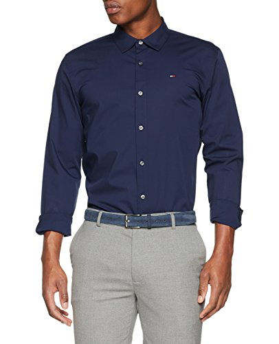 Tommy Jeans Herren Original Stretch  Langarm Slim Fit Freizeithemd Blau (Black Iris 002) Large