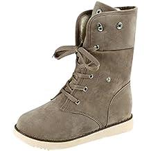 Botas, Manadlian Botas de mujer Zapatos Confort Pisos Lace Up Calzado de punta redonda (