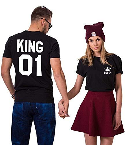 King Queen Shirts Couple Shirt Pärchen T-Shirts Für Zwei Paar Tshirt König Königin Kurzarm 2 Stücke, Schwarz, KING-L+QUEEN-S
