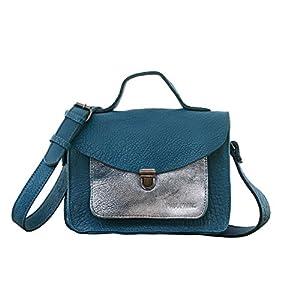 MADEMOISELLE GEORGE Azul / Plata pequeña mochila de cuero de estilo vintage PAUL MARIUS