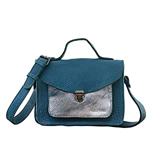 41HR23vd7PL. SS324  - MADEMOISELLE GEORGE Azul / Plata pequeña mochila de cuero de estilo vintage PAUL MARIUS