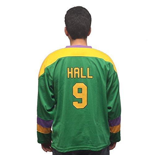 (Jesse Hall # 9Mighty Ducks Film Herren Hockey Jersey Kostüm Kuchen Eater Offense Erwachsene Gr. Größe L, Grün)
