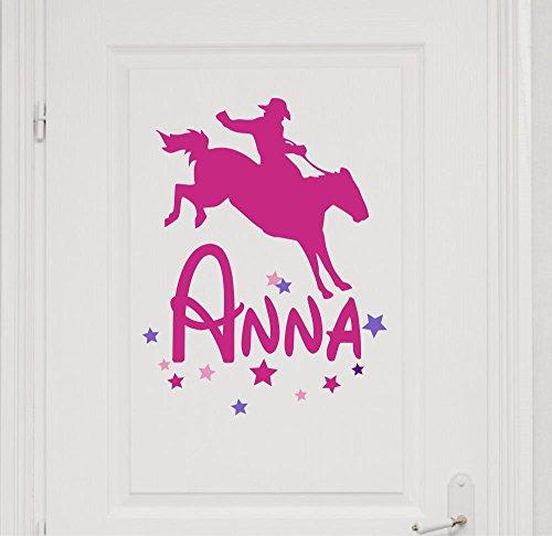 Türaufkleber mit Wunschnamen, 73052-29cm-tricolore-pink, mit bunten Sternen und Pferden, Cowboy, Rodeo fürs Mädchenzimmer, Kinderzimmer Mädchen, Kinderaufkleber, Wandaufkleber Wandtatoos Sticker Aufkleber Namensaufkleber, Wandtattoo mit Namen