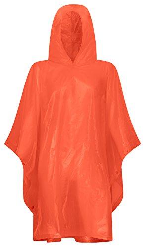 Regenponcho mit Kapuze | Universalgröße 100x30cm für Erwachsene | Regencape in verschiedenen Farben | Wasserdicht und Atmungsaktiv | ideal für Wanderungen, Camping, Festivals, Konzerte, Angeln (Rot)