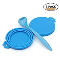 SuperDesign 3PCS Can Covers Scoop Packaging,BPA Free Silicone Can Cover for Multiple Sizes with Melamine Food Scoop,for Dog and Cat, Small Scoop, Blue