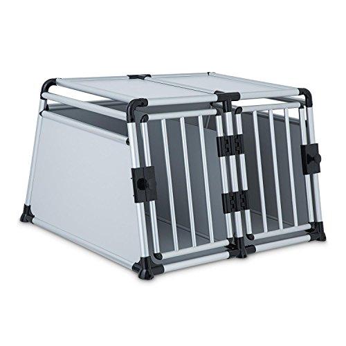 oneConcept Twin Cruise • Doppel-Transportbox • Hundebox • Sichtfreiheit • sehr stabil • pflegeleichte Aluminiumverstrebungen • Verletzungs- und Verbissschutz • Ecken mit Kunststoffummantelung • schneller Aufbau • geringes Eigengewicht • silber