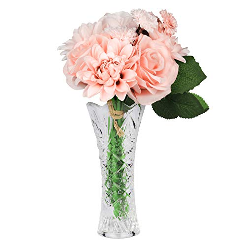 Fiori finti per decorazioni (8 pz) fiori artificiali con vaso - mazzo fiori artificiali rosa per composizioni floreali e decorazioni - fiore finto centrotavola, decorazioni floreali per casa