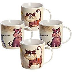 Conjunto 4 Tazas de Desayuno Originales de café té con decoración de Perros y Gatos para microondas, Regalo para los Amantes de los Animales Perro de Gato Set Dog and Cat Mugs Cups Gift Animal Lovers