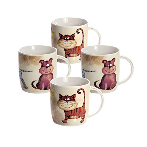 Katze und Hund Kaffeebecher Tassen Set 4 Kaffeetasse Teebecher Teetassen Lustig Katzenmotiv Hundemotiv Keramik Porzellan Geschenk für Katzenliebhaber Katzenfreunde Hundeliebhaber Hundebesitzer