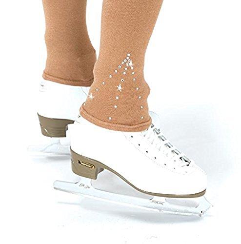 Eiskunstlauf Footless Kristall Strumpfhosen # 376, Mädchen, hautfarben