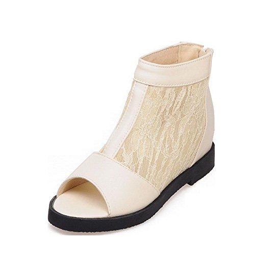 VogueZone009 Damen Blend-Materialien Rein Reißverschluss Mittler Absatz Sandalen Cremefarben