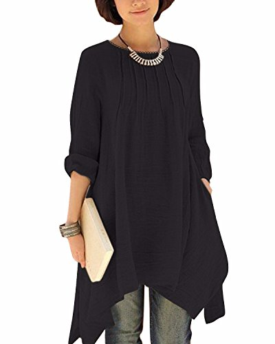 BIUBIU Damen Vintage Langarm Loose Kleid Boho Taschen Asymmetrisch Kleider DE 34-46 Schwarz DE 42 - Asymmetrische Tasche