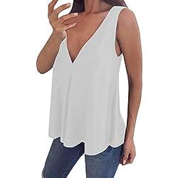 VEMOW Cami Tops Camiseta con Cuello en V para Mujer Camiseta sin Mangas Chaleco de Verano Blusa Talla Grande(Blanco,S)