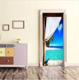 Haipeiy Türaufkleber Schlafzimmer Tür Aufkleber Landschaft 3D Tür Aufkleber Wohnkultur Selbstklebende Abnehmbare Aufkleber Auf Den Türen Tapete Aufkleber 77x200 cm