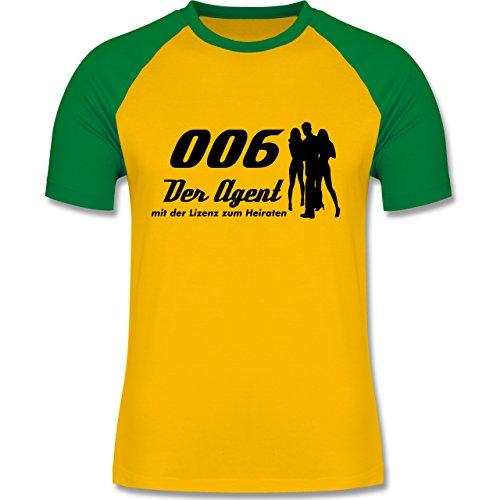 JGA Junggesellenabschied - 006 der Agent - zweifarbiges Baseballshirt für Männer Gelb/Grün