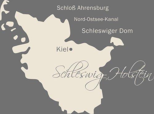 GRAZDesign 630417_50_816 Wandtattoo Wall Sticker für Wohnzimmer Büro Schleswig Holstein Karte Umriss (67x50cm//816 Antique White)