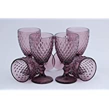 Homevibes Juego De 6 Copas De Vino Con Relieve Color Purpura, Medida 8.5x17,