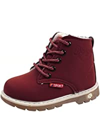 Botas Niño invierno Amlaiworld Martin Botas de Chicos Chicas Sneaker patucos Zapatillas calientes de Bebé niños niñas (21, Vino)