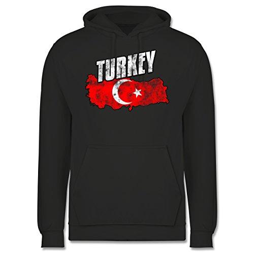 Länder - Turkey Umriss Vintage - Männer Premium Kapuzenpullover / Hoodie Dunkelgrau
