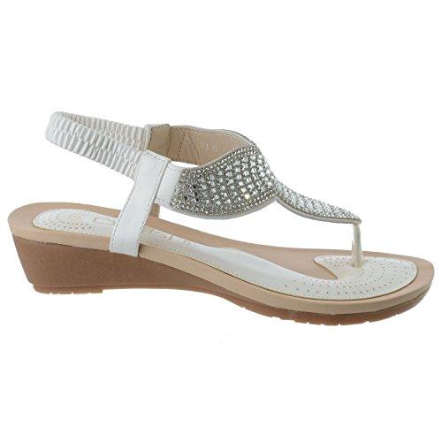 femmes diamant à lanières mi bas semelle compensée bride arrière ENTRE-DOIGT taille de sandales BLANC FAUX CUIR