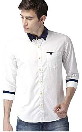 Tryme Fashion Men's Regular Fit Shirt (Men's Casual Shirt New_White_X-Large)
