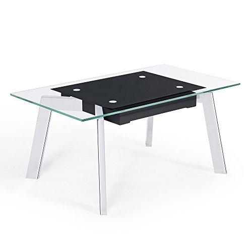 Mesa de centro elevable de cristal templado Negro y patas color Cromo