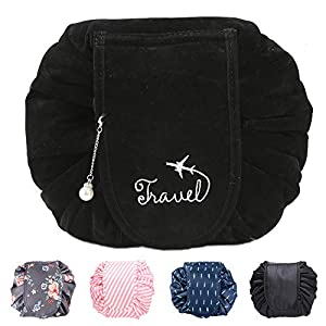 Travel Cosmetic Bag, Quick Pack Lazy Drawstring Makeup Bag Portable Flannel Magic Cosmetic Pouch Make Up Bag Storage Organiser For Women Girls, Large Capacity