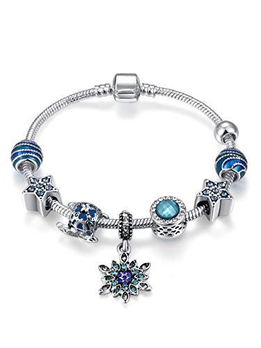 Presentski Blaue Perlen Schneeflocke Charm Armband Silber überzogene Schlangenkette, Geschenk für Weihnachten -