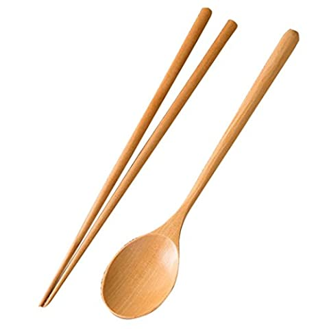 WARRAH Bamboo Twist Chopsticks Authentic Natural Bamboo Japanese Chopsticks With Spoon - Bamboo Noodles Cooking Chopsticks Chopstick Set, Bamboo Chopstick, Bamboo Spoon Colour