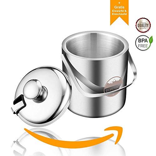 SilverRack Premium Eiswürfelbehälter Edelstahl | doppelwandiger Eiswürfelbehälter mit Deckel | Eiskühler mit Deckel und Zange als Eisbehälter für Eiswürfel | Ice Bucket Tongs Eiskübel 1,3l