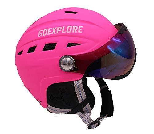 LHY Kinder im Freien Skihelm, Skifahren Helme mit abnehmbarem Photochromic Polarisierungsbrillen Frauen Männer Einstellbare Ski Snowboard Helm,Rosa,S