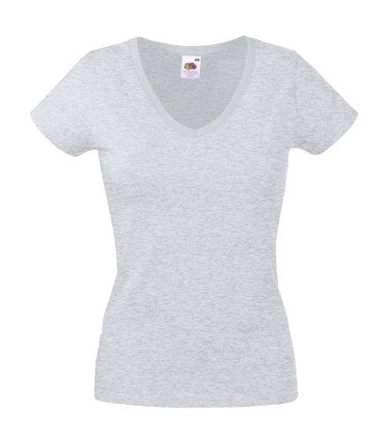 Damen V-Ausschnitt Kurzarm T-Shirt Lady-Fit V-Neck Shirt verschiedene Farben und Größen - Shirtarena Bündel XL,Graumeliert (T-shirt Damen V-hals Grau)